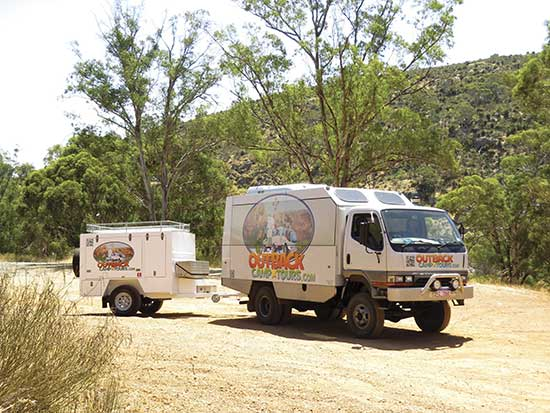 outback camp tours bus and trailer