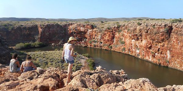 girl standing over a gorge in western australia