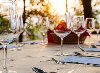 wine glasses on outdoor dinner table