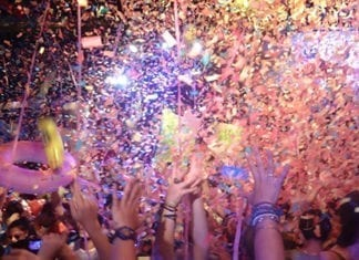 confetti falling on people at ibiza party