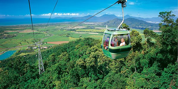 riding on the skyrail rainforest cableway in north queensland