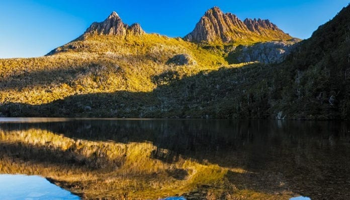 cradle mountain and dove lake tasmania in cradle mountain lake st clair national park, australia