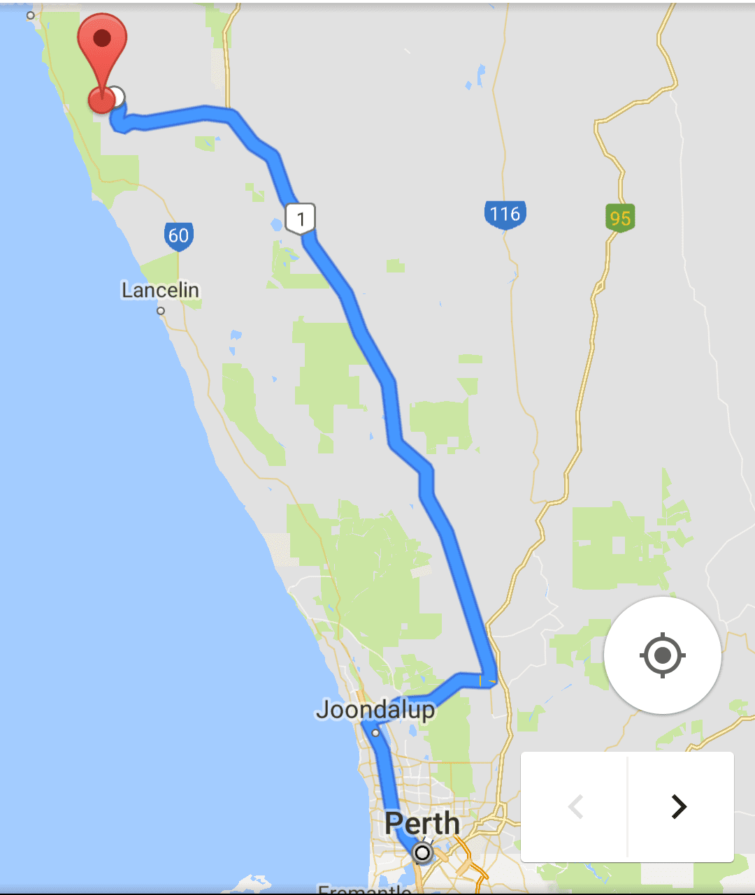 A suggested rout from Perth to The Pinnacles